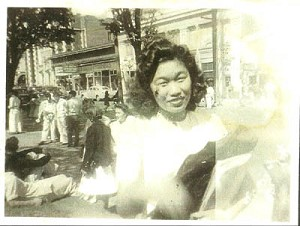 ■ Teru Oka, in 1941, wearing the dress her mother made to attend classes at Broadway High School on Capitol Hill for White Clothes Day. photo provided by Broadway High School archives