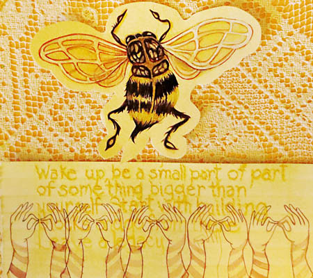 Allison Agostinelli's bee image inspired by resident Sunnie Gordon. Photo courtesy of June Sekiguchi